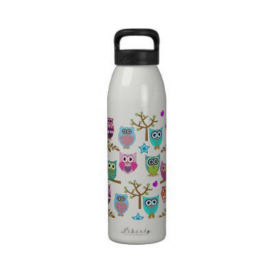 Changeable background owls drinking bottle from Zazzle.com