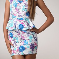 Kami Shade' Designer Blue Floral Peplum Short sleeve Mini Dr