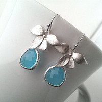 Flower with Ocean blue summer Earrings