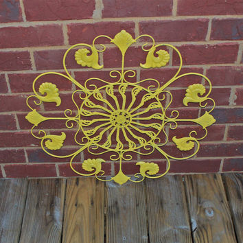 Metal Wall Fixture /Bright Yellow /Distressed Patio Decor /Painted /Outdoor Up Cycled Iron Art /Ornate Design /Beach cottage