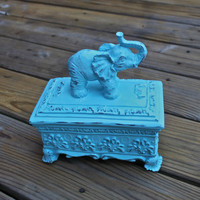 Elephant Treasure Box /Aqua Blue /Shabby Chic /Jewelry Box /Storage /Decor