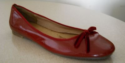 Cherry Red ALDO Shiny Patent Leather Ballet Flats Size 8.5AA EU 39 UK 6.5 AU 6.5