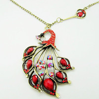ancient vintage style red peacock pendant women or girl chain long metal long necklace   XL78