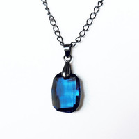 Denim Blue Necklace -- Swarovski &quot;Denim Blue&quot; Crystal on Gunmetal Chain
