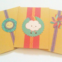 Three Cards Any Occasion Yellow, Purple, Green, Pink