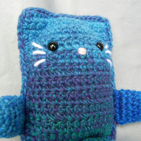 Crochet Cat Amigurumi Kitty Blue and Green Shaded Toy