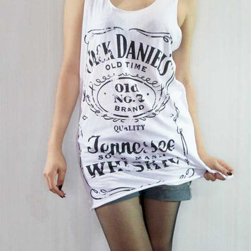 JACK DANIELS Sour Mash Tennessee Whiskey Old No.7 Band Tank Top Women White Shirt Tunic Top Vest Women Singlet Jack Daniels T-Shirt Size S M