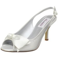 Dyeables Women`s Faye Open-Toe Pump,White Satin,8.5 B US
