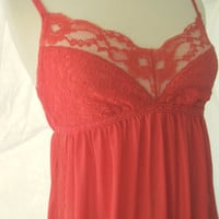 Vintage Sexy Red Lace Maxi Nightgown Size Small