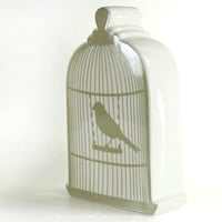 Ceramic Moneybox White Birdcage Vintage French by zakkalover