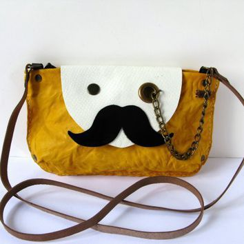 piiqshop - Market Place - RESERVED Mr. Mustache with Monocle Leather Cross Body / Shoulder Bag Purse in Canary Yellow with Cowhide Strap ONE OFF