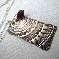 Vintage Style Artisan Handcrafted Textured Pendant With Wire Wrapped Red Garnet Briolette .999 Silver PMC Necklace. OOAK Precious Metal Clay