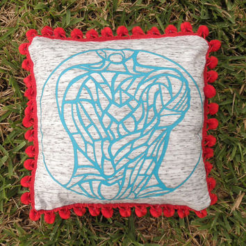 "Upcycled Teal Tshirt ""Body Project"" Pillow with Large Red Pom Pom Trim"