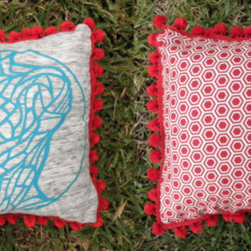 Upcycled Teal Tshirt Body Project Pillow with Large Red Pom Pom Trim