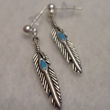 Feather Post Earrings, Native American Jewelry, Back to School Accessory, Stocking Stuffer, Babysitter Gift, Office Accessory, Quick Gift