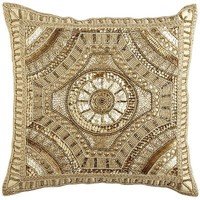 Calico Gold Beaded Medallion Pillow