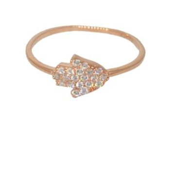 Rose Gold Plated Hamsa CZ Ring