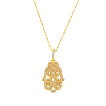 SKU Jewelry Gold Plated CZ HAMSA Necklace