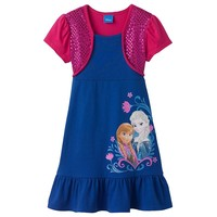 Disney Frozen Elsa & Anna Mock-Layer Bolero Dress - Girls 4-6x