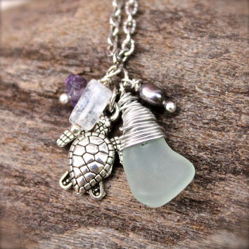 Sea Turtle Necklace - Sea Glass Jewelry - Hawaiian Honu Necklace - Sea Turtle Jewelry from Hawaii - Sea Glass Necklace - Hawaii Honu Jewelry