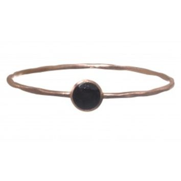 Gold Plated Bangle with Smokey Quartz Stone