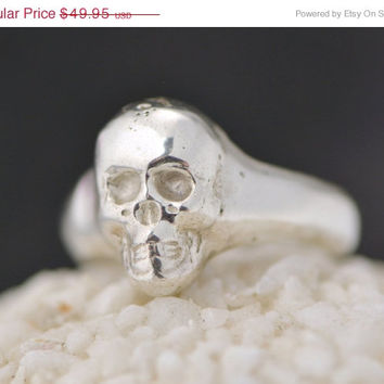 Labor Day Sale Skull Ring - Handmade - Rocker Ring - Sterling Silver Skull - Skull Jewelry - Carved Skull Ring - Pirate Ring