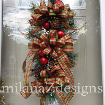 Christmas Swag, Red & Green Plaid Christmas Wreath, Traditional Christmas Decorations, Mantle or Table Centerpiece, Pine Cones and Ornaments