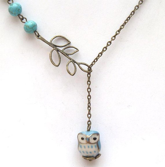 Fancy Antiqued Brass Leaf Turquoise Porcelain Owl Necklace