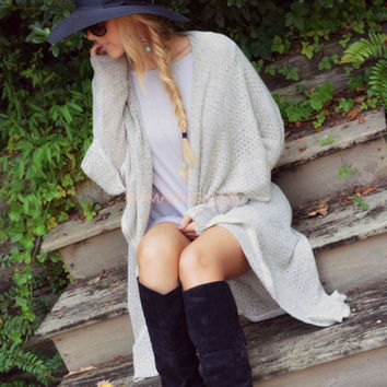 Carbondale Taupe Draped Collar Long Cardigan