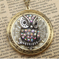 Steampunk Shining Owl Brass Locket Necklace Vintage Style Original Design