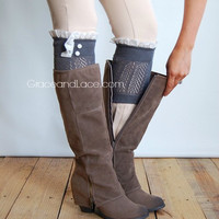 Dainty Lace Boot Cuffs - DARK GREY knit boot topper lace trim & buttons - faux legwarmers - lace cuff - leg warmers boot warmers (C10-9)