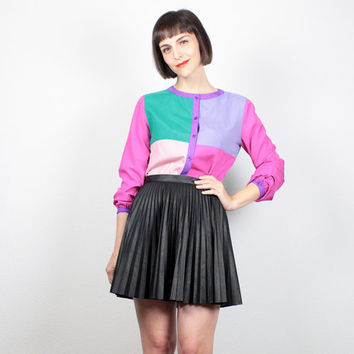 Vintage COLOR BLOCK Blouse Purple Pink Teal Green Long Sleeve Shirt Mod Color Blocked Top Bright Geometric Button Down Shirt M Medium