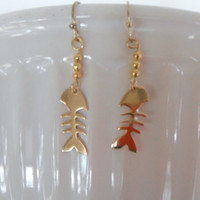 Gold Vermeil Fish Bones Skeleton  Dangle Earrings Gift fashion under 25