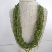 Sparkling Green Peridot Six Strand Necklace Silver Toggle Fashion under 60