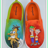 Custom Shoes, Painted Shoes, Phineas and Ferb Shoes, Custom Gifts for Boys, Phineas and Ferb, Disney, Kids Shoes, Painted Kids Sneakers
