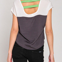 Two Tone Banded Chiffon Top in Gray Lime