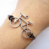 Bracelet---antique silver 3d love bike&brown leather chain