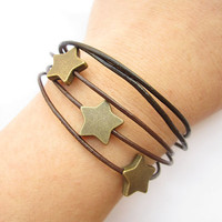 Multilayer leather bracelet---antique bronze personality stars bracelet & brown leather chain