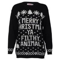 My1Stwish Women's Xmas Novelty Retro Christmas Jumper Sweater