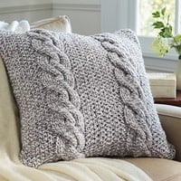 BICOLOR CHUNKY CABLE HANDKNIT PILLOW COVER