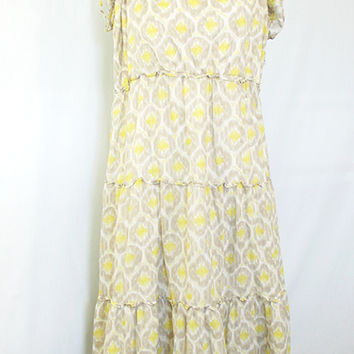 Beige and yellow abstract floral print dress
