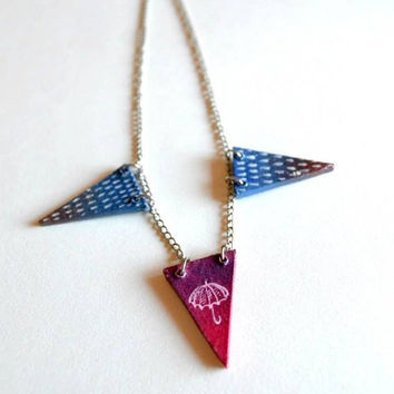 Rainy day necklace. Pink Umbrella Necklace. Geometric necklace. Unique hand painting wooden purple blue triangle.  Original Artwork