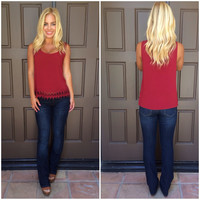Wine & Dine Crochet Top - BURGUNDY