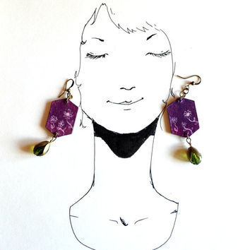 Purple green flowers wood earrings. Handpainting wooden pendants