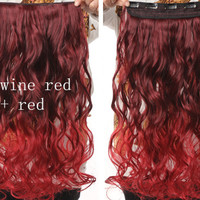 Wine Red & Red Ombre Hair Extensions - Clip in - Wavy - Cosplay Hair Extensions