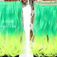Green & Yellow Ombre Hair Extensions - Clip in - Wavy - Cosplay Hair Extensions