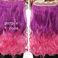 Purple & Rose Ombre Hair Extensions - Clip in - Wavy - Cosplay Hair Extensions