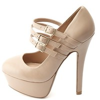 Triple Mary Jane Platform Pumps by Charlotte Russe - Nude