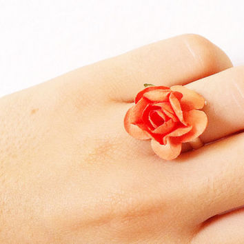 Floral Ring, Flower Ring, Paper Flower Jewelry, Adjustable Orange Rose Ring, Fits Most.