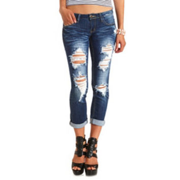 SHREDDED DARK WASH BOYFRIEND JEANS